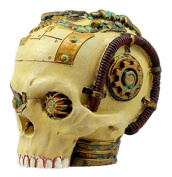 Ebros Gift Miniature Severed Steampunk Cyborg Skull Figurine 7.6cm H Robotic Skull With Painted Gear Work Collectible