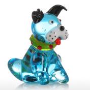 Tooarts Blue Squatting Dog Glass Statue Ornament Puppy Figurine Hand Blown Sculpture Multicolor