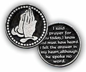 Three (3) - I SAID a Prayer For You TODAY - 2.5cm Pewter POCKET Tokens - PRAYING Hands INSPIRATIONAL Gifts - KEEPSAKE
