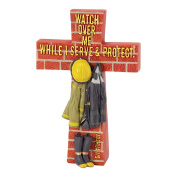 A Firefighter's Prayer Watch Over Me Red 8 x 5 Resin Stone Table Top Cross Figurine