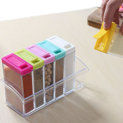 Storage Seasoning Boxes Set of 6 Spice Shaker Jars Kitchen Condiment Box with 2 Kinds of Outlet Holes
