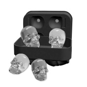 Pawaca 3D Skull Ice Cube Tray Mould, Makes Four Giant Skulls, Food Grade Flexible Silicone Ice Cube Maker in Shapes for Whiskey Ice and Cocktails
