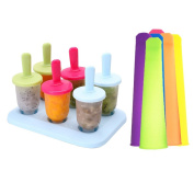 6pcs Reusable DIY PP Popsicle Mode Set+ 6pcs Colourful BPA-free Silicone Handheld Popsicle Mould