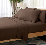 6 Piece Silky Soft Luxurious Comfortable Queen Bed Sheet Set - Chocolate Brown- by Cheer Collection