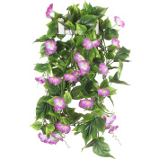 Artificial Vines, GTidea 2pcs 4.6m Morning Glory Hanging Plants Silk Garland Fake Green Plant Home Garden Wall Fence Stairway Outdoor Wedding Hanging Baskets Decor Purple