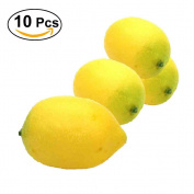 WINOMO 10 pcs Artificial Lifelike Simulation Lemon Yellow Fake Lemons Fake Decorative Fruit