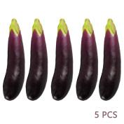 5Pcs Artificial Eggplants Simulation Fake Vegetable Photo Props Home Decoration