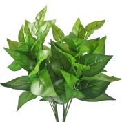 Gtidea 2pcs Artificial Epipremnum Aureus Leaves Silk Grass Fake Plants Bridal Home Garden Office Floor Restaurant Wedding Decoration Green