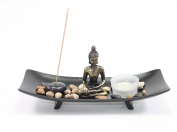 Tabletop Buddha Zen Garden Rock Candle Holder Home Decor Relaxing Tranquilly Gift