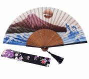 "Amajiji Chinese Japanese Folding Hand Fan for women,Vintage Retro Style 9.05"" (22CM) Bamboo Wood Silk Hand Fans (9.05"""