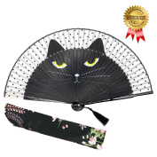 """OMyTea """"Sexy Cat"""" Folding Hand Held Fan for Women - With a Fabric Sleeve for Protection - Chinese / Japanese Vintage Retro Style for Wedding, Dancing, Church, Party, Gifts"""