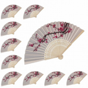 10 pcs Delicate Cherry Blossom Design Silk Folding hand Fan wedding Favours Gifts WEN FEIYU