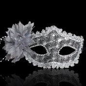 Nanier Mistery Luxury Bling Lace Sexy Charming Lady Mask, Women's Venetian Masquerade Mask Silver