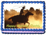 Cowboy Edible Cake Topper - 1/4 Sheet