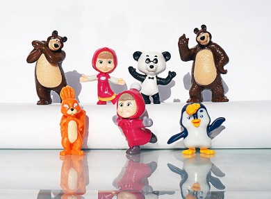 [RusToyShop] 7psc +Dioramy Masha and the Bear toys From Kinder Surprise Eggs Party Favour Toy Filled Easter mini figures actions tv 3cm