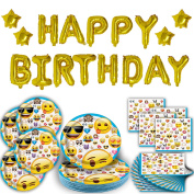 Emoji Birthday Party for 16, Plates, Napkins, and 17 Piece Gold Balloon Inflatable HAPPY BIRTHDAY Letter Banner