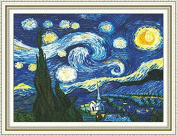 Faraway Cross Stitch Kits, The Starry Night of Van Gogh, DIY Handmade Needlework Set Cross-Stitching Accurate Stamped Patterns Embroidery Frameless Beginners Kids