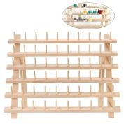 ULTNICE Thread Holder Wood Rack 60 Spool Stand Thread Organiser Foldable Cone Wall Mount