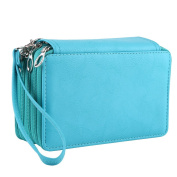 75 Slots PU Leather Pencil Case, Multi-layers Zipper Large Capacity Sketch Pen Bag Pouch Stationary Box Cosmetic Makeup Organiser Storage with Handle Strap