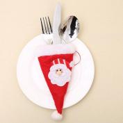 Christmas Decorative Tableware Fork Set Christmas Hat Storage Tool ,Tuscom