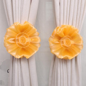 Curtain Tie,Clip-On Flower Tie Backs,Holdbacks For Voile & Net Curtain Panels ,Tuscom