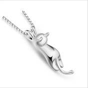 Iumer Lucky Cat Girl Necklace Cat Necklace Matte Silver Cat Pendant Collarbone Necklace Mirror Polish