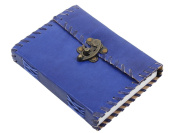 Worldoftextile Gifts Blue Leather Diary Journal Notebook Handcrafted With A Metal Lock & Unlined Eco-Friendly Pages