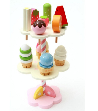 Baby Toys Simulation Ice Cream Wooden Toys Set Pretend Play Kitchen Food Baby Infant Toys Food Birthday/Christmas Gift