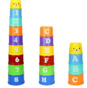 9pcs/Set New Baby Children Kids Educational Toy Figures Letters Folding Cup Pagoda Gift Math Toy