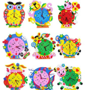 1 Set Cute 3D EVA Handmade Animal Learning Clock Puzzle Assembled DIY Creative Educational Toys for Children Baby Gift