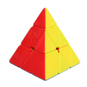 HJXD globle Speed and Smooth Pyraminx Magic Cube Stickless Puzzle Cube Colourful