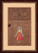Mughal Period Portrait 'Royal Rajput Queen Standing' Indian Miniature Painting on 100 Year Old Court Stamp Paper with Moulded Framing