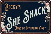 Becky's SHE SHACK Vintage Look Sign 12x18 Victorian Metal Wall Décor 2181613