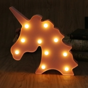 HittecH Unicorn Lamp Decor 3D Marquee With 10 LED Battery Operated Night Light Warm White for Kids and Adult