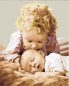 Wowdecor Paint by Numbers Kits for Adults Kids, Number Painting - Sister Kiss Brother, Two Lovely Kids 41cm x 50cm