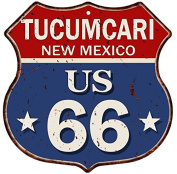 TUCUMCARI, NEW MEXICO Route 66 Vintage Rustic 12x12 Metal Shield Sign S121344