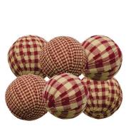 Rag Balls Set of 6 Burgundy Gingham 5.7cm . Diameter Bowl Filler Country Prim Decor