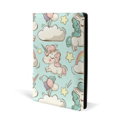AIDEESS Refillable Leather Book Cover - Cute Unicorns And Clouds Print, 22cm x 15cm for Medium to Jumbo Size Schoolbooks, Hardcover, Textbook