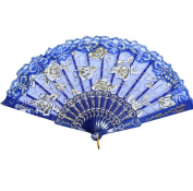 Vi.yo Chinese Handheld Cloth Fabric Folding Fans for Girls Women Openwork for Performance Dance Bamboo,One Size(Blue)