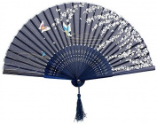 Vi.yo Chinese Handheld Silk Bamboo Folding Fans for Girls Women Openwork for Performance Dance,One Size