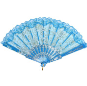Vi.yo Chinese Handheld Cloth Fabric Folding Fans For Girls Women Openwork for Performance Dance Bamboo,One Size(Light Blue)