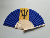 Barbados Flag Fabric Folding Hand Fan with Bamboo Handles