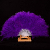 Handmade Chinese Japanese Folding Fan Feather Hand Fan Dance Stage Props Wedding Party Favours Colour purple