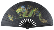 BLACK BAMBOO KUNG FU FAN WITH DRAGON