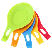 Spoon Mat,WCIC 5-Pack Silicone Spoon Rest Heat Resist Pad BPA Free Kitchen Tool 5 Colours Mix Red Yellow Green Blue Orange