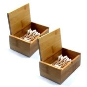 Terya Natural Handmade Teak Wood Portable Toothpick Holder Mini Wood Box Terya Pocket Toothpick Holder