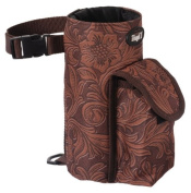 Jt International Distributors Bottle/Cell Phone Combo Saddle Pouch Tooled Leather Brown