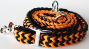 Roping Knotted Horse Tack Western Barrel Reins Poly Cotton Braided Orange 60738