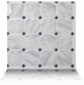 Tic Tac Tiles Anti-mould Peel and Stick Wall Tile in Marmo White