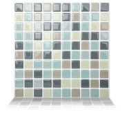 Tic Tac Tiles Anti-mould Peel and Stick Wall Tiles in Mosaic Mintgray